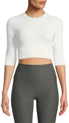Varley Fletcher Mesh 3/4-Sleeve Activewear Crop Top