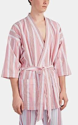 Barneys New York Men's Striped Cotton Short Robe - Red