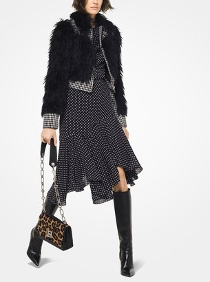 Michael Kors Faux Fur and Houndstooth Wool Battle Jacket