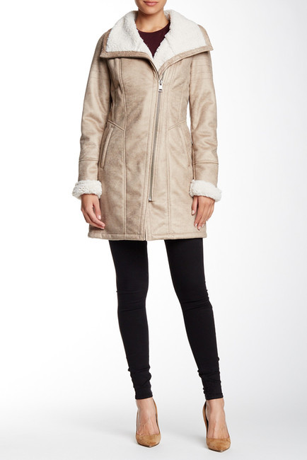 7 For All Mankind7 For All Mankind Faux Shearling & Faux Suede Asymmetric Zip Coat