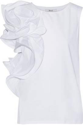 Badgley Mischka Asymmetric Ruffled Cotton-Jersey Top