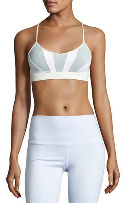 Alo Yoga Radiance Colorblock Sports Bra, White/Dusk/Icicle $54 thestylecure.com