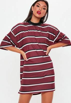 Missguided Burgundy Oversized Striped T Shirt Dress