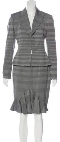 Christian Dior Woven Striped Skirt Suit