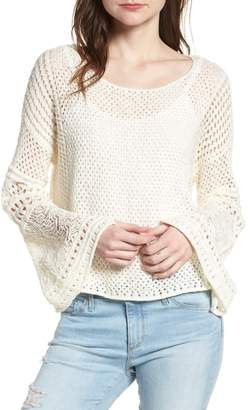 1 STATE 1.STATE Pointelle Stitch Bell Sleeve Sweater