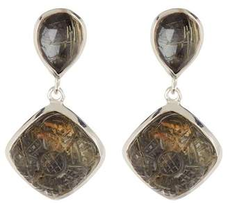 Stephen Dweck Sterling Silver Gold Ritulated Quartz Hematite Small Drop Earrings