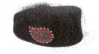 Givenchy Vintage Velvet Embellished Cap
