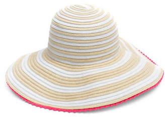 Collection 18 Pom Pom Trim Striped Floppy Hat
