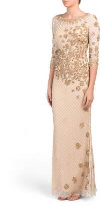 Three-quarter Sleeve Beaded Gown