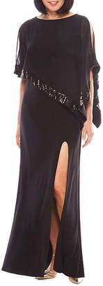 R & M Richards R&M Richards Sequin-Trim Formal Cape Gown