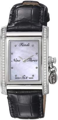 Fendi Women's 'ID' Swiss Quartz Stainless Steel and Leather Dress Watch, Color:Black (Model: F711341DC)