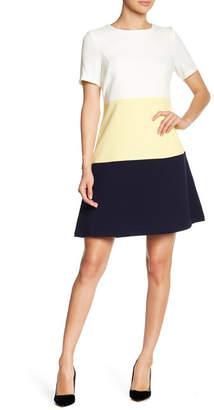 Sandra Darren Short Sleeve Colorblock Dress
