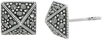 Suspicion Sterling Marcasite Pyramid Button Earrings