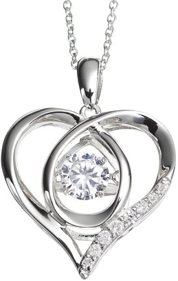Floating Diamonluxe Floating DiamonLuxe 3/4 Carat T.W. Simulated Diamond Sterling Silver Heart Pendant Necklace