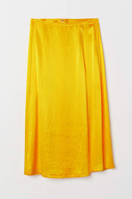 H&M Wrapover Satin Skirt - Yellow