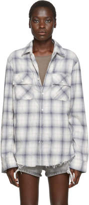 Amiri Blue and Off-White Flannel Plaid Shirt