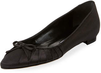 Manolo Blahnik Pleata Point-Toe Satin Ballet Flats