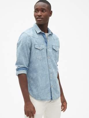 Gap Stripe Western Shirt in Denim