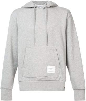 Thom Browne center-back stripe jersey hoodie grey