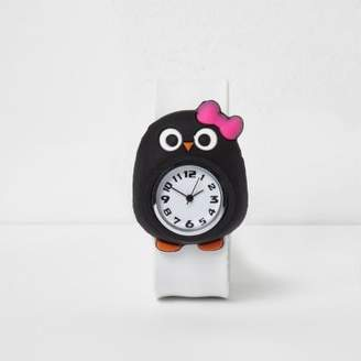 River Island Girls white penguin snap on watch