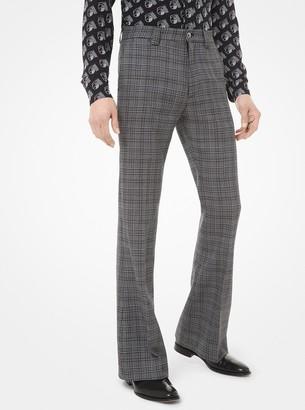 Michael Kors Glen Plaid Pressed Wool Trousers