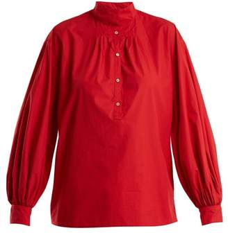 Nili Lotan Claira Balloon Sleeved Cotton Blouse - Womens - Red