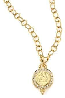 Temple St. Clair Angels Pave Diamond& 18K Yellow Gold Pendant