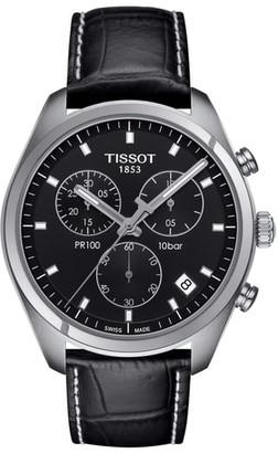 Tissot PR100 Chronograph Leather Strap Watch, 41mm