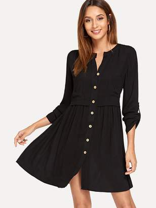 Shein Button Front Roll Up Sleeve Dress