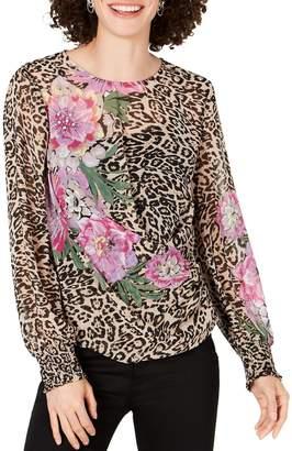 INC International Concepts Leopard Floral Blouse