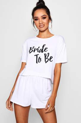 boohoo Petite Bride To Be T-Shirt & PJ Short Set