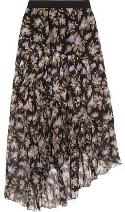 Zimmermann Asymmetric Tiered Printed Crinkled Silk-Chiffon Skirt