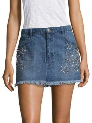 Free People Shine Bright Mini Denim Skirt