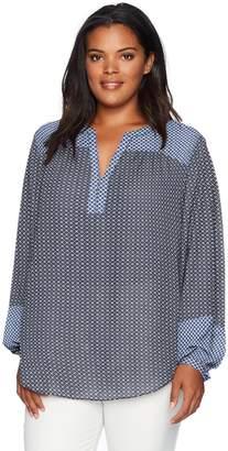 NYDJ Women's Plus Size Mixed Print Peasant Blouse