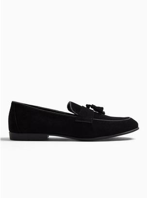 Topman Mens Black Faux Suede Prince Tassel Loafers