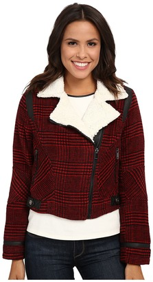 dollhouse Asymetric Zip Jacket w/ Pile Collar & PU Trim $69.99 thestylecure.com