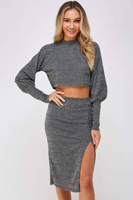 Hers And Mine Grey Skirt Set