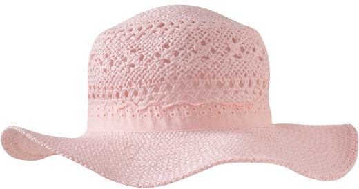 Straw Eyelet-Trim Hats for Baby