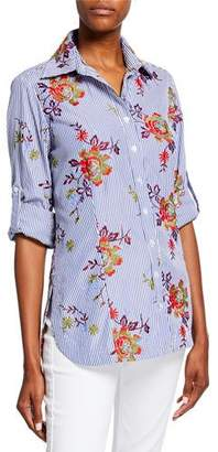 Finley Joey Striped Autumn Floral Shirt with Tab Sleeve Detail