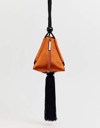 Asos Edition EDITION satin triangle bag with tassel