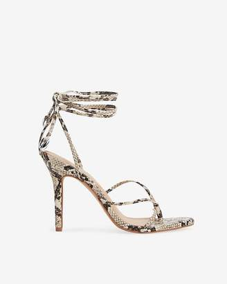Express Snakeskin Print Strappy Heeled Thong Sandals