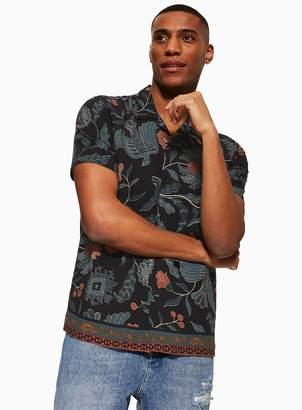 TopmanTopman Black Batik Border Revere Shirt