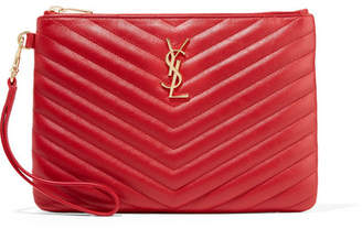 Saint Laurent Monogramme Quilted Leather Pouch - Red