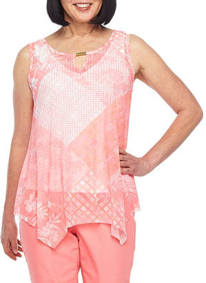 HEARTS OF PALM Hearts Of Palm Blush Strokes- Womens Keyhole Neck Mesh Tank Top