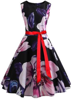 Wellwits Women's Print Sash Waist Tie Vintage Retro Dress 2XL