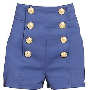 Balmain Women's High-Rise Buttoned Shorts