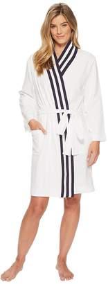 Nautica Kimono Robe with Navy Rib Stripe Women's Robe