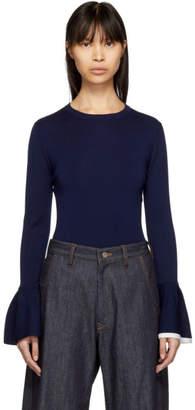 Enfold Navy Wool Frill Sleeve Sweater