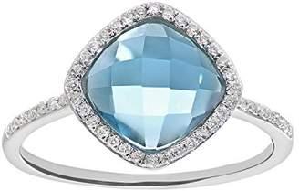 N. Naava Women's 9 ct White Gold Diamond and 2.65ct Cushion Cut Blue Topaz Gemstone Ring - Size O