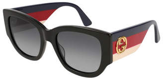 Gucci Oversized Rectangle Sunglasses w/ Striped Arms